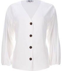 blusa unicolor botones en frente color blanco, talla 10