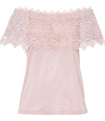 maglia con spalle scoperte e pizzo (rosa) - bodyflirt