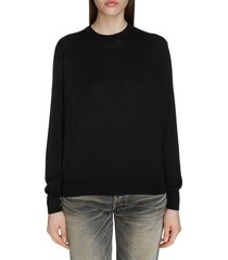 women's balenciaga interlocking bb logo wool sweater, size large - black