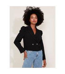 blazer feminino mindset cropped transpassado manga bufante preto