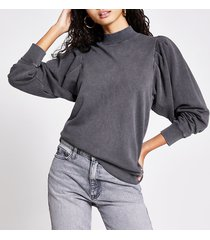 river island womens grey long puff sleeve sweatshirt
