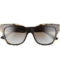 prada 53mm cat eye sunglasses in black/havana/grey gradient at nordstrom