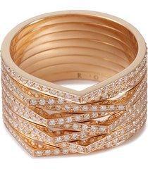 'antifer' diamond 18k rose gold eight row ring