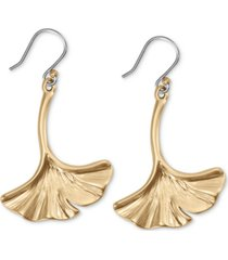 lucky brand gold-tone ginkgo leaf drop earrings
