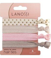 elã¡stico de cabelo lanossi hair ties ballet  4 unidades - incolor - dafiti