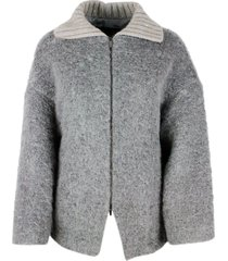 fabiana filippi oversized jacket in mohair bouclé with knitted collar embellished with micro sequins