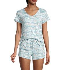 catherine malandrino women's 2-piece camo t-shirt & shorts set - blue - size m