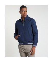 jaqueta de sarja bomber masculina com bolsos azul marinho