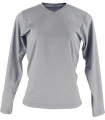 blusa térmica feminina segunda pele gola v thermo premium original slim fit - cinza