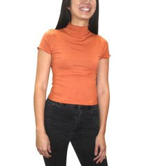 almost famous juniors' ribbed mock neck top