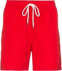 polo ralph lauren short de natação traveller com ajuste no cós - vermelho