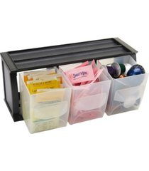 mind reader 3 compartment plastic bin holder, versatile stackable plastic organizing bins