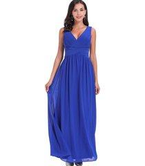 vestido fiesta escote cruzado azul nicopoly