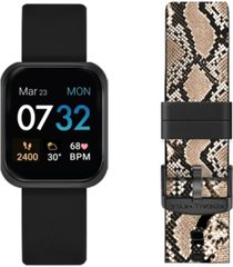 women's kendall + kylie black and python print straps smart watch set 36mm