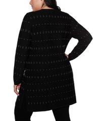 belldini black label plus size button up duster cardigan