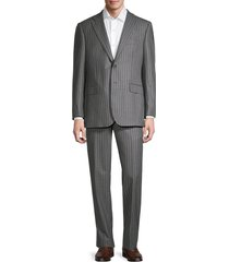 saks fifth avenue men's tailored-fit striped wool suit - grey - size 42 r