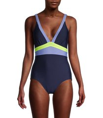 dkny women's colorblock one-piece swimsuit - navy - size 18