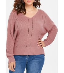 plus size slim fit ribbed panel sweater