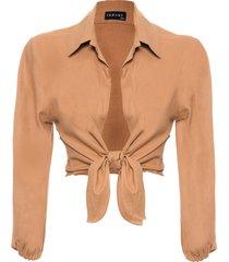 blusa feminina manga comprida nó - marrom