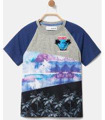 patchwork hawaii print t-shirt - black - 13/14