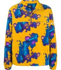 stussy abstract print fleece henley sweatshirt - yellow