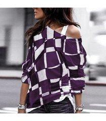 2019 moda casual imprimir camiseta mujer tallas grandes cuello o-púrpura