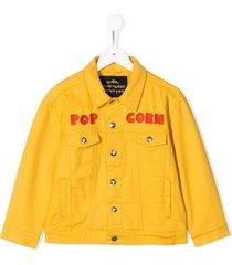 mini rodini popcorn embroidered jacket - yellow