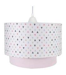 lustre tubular duplo triângulos rosa quarto bebê infantil menina