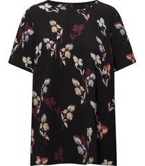 flower blouse blouses short-sleeved svart pulz jeans