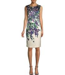 budding floral stretch silk sheath dress