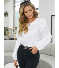blusa elegante con mangas abullonadas y cuello redondo de yoins