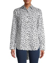 karl lagerfeld paris women's star & eiffel tower-print shirt - soft white black - size m