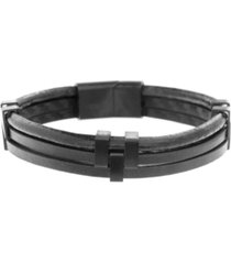 ben sherman leather tripled stranded men's bracelet