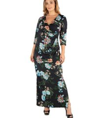 24seven comfort apparel floral v-neck side slit plus size maxi dress