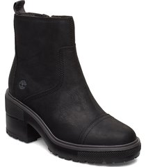 silver blossom side zip shoes boots ankle boots ankle boots with heel svart timberland