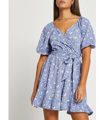 river island womens blue floral belted wrap mini dress