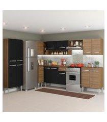 cozinha completa de canto reto madesa emilly moon com armário e balcáo 15 portas 1 gaveta marrom