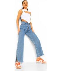 spijkerbroek met knopen en split, blue
