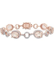 morganite (11 3/4 ct. t.w.) and diamond (1 1/2 ct. t.w.) link bracelet in 14k rose gold