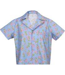 floral print pajama top blue