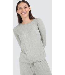 camiseta mujer recogido en cintura color gris, talla 10