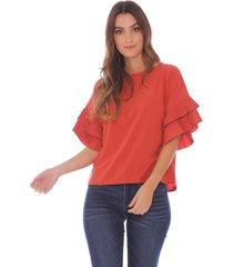 blusa casual con mangas plisadas - mujer
