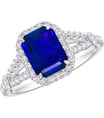 pure 925 silver blue sapphire 14k white gold finish halo style women's ring