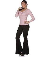 blusa via costeira com renda e cetim manga longa feminina