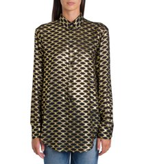 celine shirt in jacquard silk cut-wire triomphe pattern