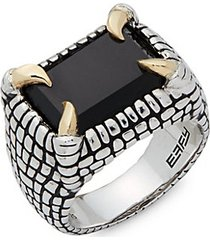 men's onyx, sterling silver and 18k yellow gold carved midi ring