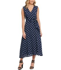 dkny belted polka dot midi dress