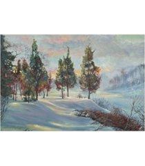"""david lloyd glover snowy winter dawn canvas art - 15"""" x 20"""""""