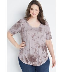 maurices plus size womens 24/7 brown tie dye flawless tee