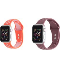 unisex coral pink and brown breathable silicone 2-pack replacement band for apple watch, 42mm
